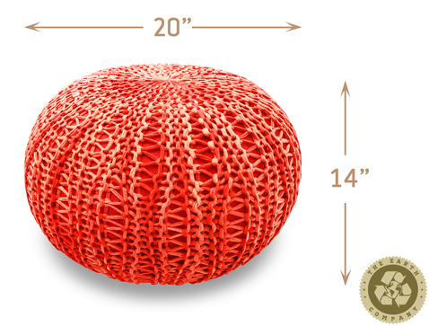 The Earth Company - 100% Cotton Pouf - Anardana Red (ships 10/10)