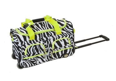Rockland Fox 22-inch Rolling Duffle Bag, Lime Zebra