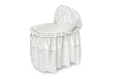 Badger Basket White Batiste Bassinet with Floor Length Skirt