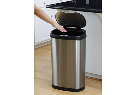 Nine Stars 13.2-Gallon Stainless Steel Oval Sensored Trash Can