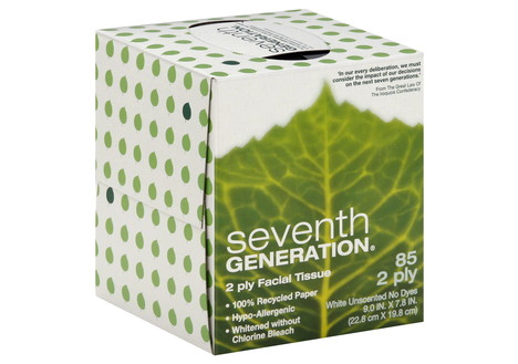 Seventh Generation Facial Tissues, Unscented, 2 Ply, 85 tissues