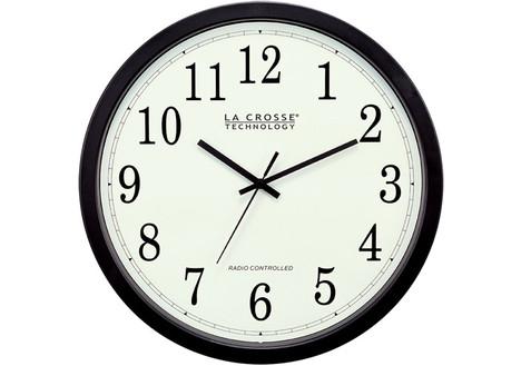 La Crosse Technology 14-inch Atomic Analog Wall Clock, Black