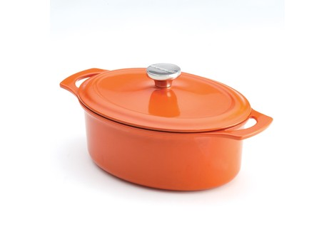 Rachael Ray 3.5-Quart Cast Iron Covered Oval Casserole, Orange