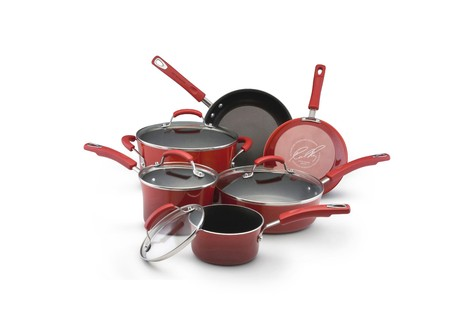 Rachael Ray Hard Enamel Cookware 10pc set (2-tone Red)