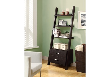 Monarch Specialties Cappuccino 69-inch Ladder Bookcase