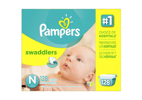 Pampers Swaddlers Newborn Diapers, 128 count