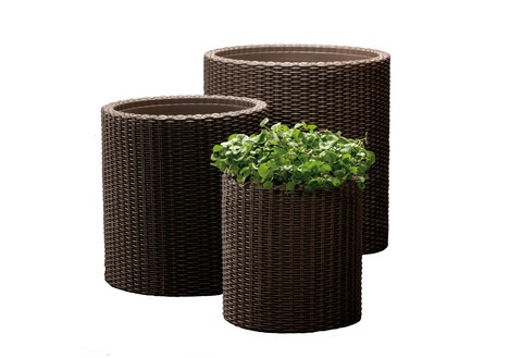 Keter 3-Piece Rattan Planter Set